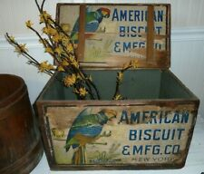Antique American Biscuit Box & Mfg. Co. New York Wooden Advertising Primitive