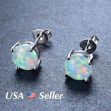 925 Sterling Silver Rainbow White Fire Opal Round  Earrings 7.4mm E9
