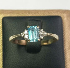 BLUE TOPAZ AND DIAMOND RING 9CT GOLD