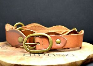 Vintage Handmade Womens Real Leather Belt Brown Size 40