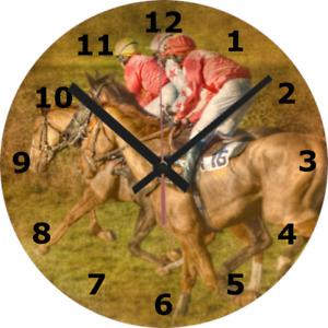 WALL CLOCK HORSE 25cm Art Racing Jockey Riding School Animal Nature Home 884