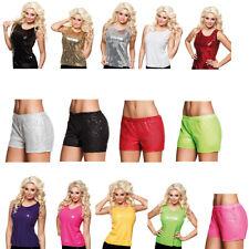Sexy Pailetten Hot Pants Pailetten Top 80er Faschingskostüm Silvester Disko