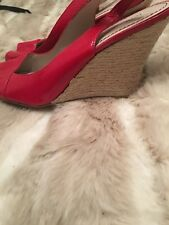 Nine West Red Leather Wedge Espedrilles Size 6.5