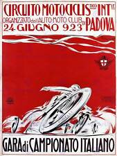 Exhibition sport motorcycle race champion padova italy vintage poster art 857PY