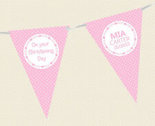 PERSONALISED CHRISTENING BUNTING POLKA DOT DESIGN - BANNER - choice of colours