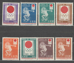 Paraguay - Courrier 1964 Yvert 742/6 + A.373 /5 MNH Deportes. Olympiques Tokyo