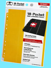 10 ULTIMATE GUARD 18-POCKET YELLOW SIDE LOADING Card Pages Storage Sheets Binder