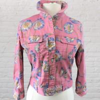 Vintage 80s 90s Womens Floral Denim Jacket Size Medium Pink Button Down