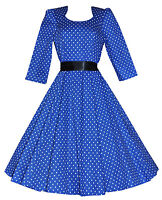 Ladies 50's Vintage Style Blue Polka Dot Crop Sleeve Swing  Dress New 8  - 18