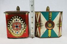 Lot of 2 Vintage Tins Ornate Multi Colored Metal Candy Biscuits Cookies England