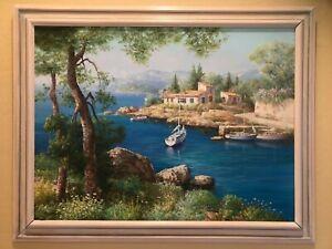 "S SAM PARK ORIGINAL OIL ON CANVAS 1994 ""Cap Agade 30x40"" Beautiful Painting!"