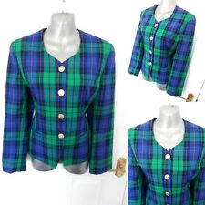 ❤ Vintage DEBENHAMS Size 10 Green Blue Red Purple Check B/Up Smart Jacket Lined