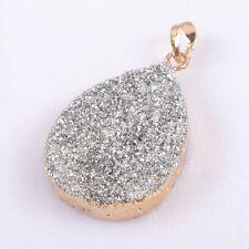 Natural Agate Titanium Druzy Pendant Bead Gold Plated B041816