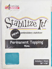 STABALIZE IT EMBROIDERY STABALIZER.  PERMANENT TOPPING TEAL 1YD ADS-PT06