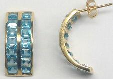 14K Solid YG Blue Topaz=4.75ct. Half Hoop Earrings