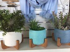 Planter Pot Timber Stand Blue White Spot Home Garden Decor Patio Indoor Outdoor