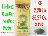 Illite Organic French Green Clay Powder Face Mask  Beauty Acne 1kg 2.2lb 35.27oz