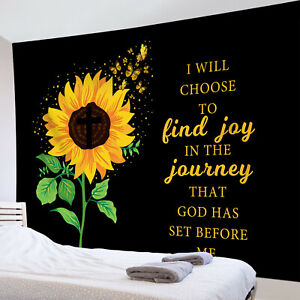 Watercolor Sunflower Butterfly Funny Word Tapestry Wall Hang Living Room Bedroom