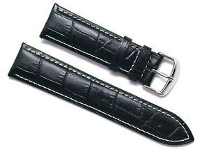 20 22 24mm Black Crocodile Grain Leather Replacemet Watch Strap Silver Buckle
