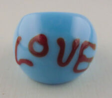 Huge Aqua Love Red Art Icing Glass Wide Domed Cocktail Ring Size 6 1/2 7
