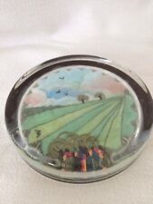Collectible Glass Paperweight With Embroidered Landscape Country Scene