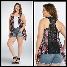 NWT Torrid Plus Size 4X/5X Floral Chiffon Lace Back Vest Black #8-6