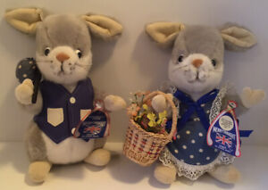 """VINTAGE MERRYTHOUGHT RABBIT BUNNY PAIR 12"""" PLUSH WITH TAGS MADE IN ENGLAND RARE"""