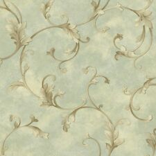4 ROLL LOT - Elegant Scroll Seafoam Wallpaper Double Roll Bolts FREE SHIPPING