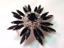 VINTAGE SIGNED JUDY LEE BLACK NAVETTES CLEAR RHINESTONES PRONG SET FLOWER BROOCH
