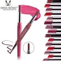MISS Rose Waterproof Dual Pencil Lipstick Pen Matte Lip Liner LongLasting Makeup
