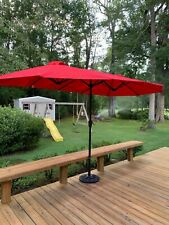 15 Ft Patio Double Sided Umbrella Outdoor Market Party w/Crank & Base Color Red