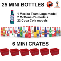 25 MINI COCA COLA BOTTLES 6 CRATES RUSSIA SOCCER FOOTBALL WORLD CUP 2018 MEXICO
