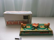 Vintage Russian Train Station Wind Up Tin Toy w/Key NIB