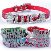 Personalized Leather Pet Dog Cat Collars FREE Rhinestone Name Letters & Charms
