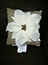 "Pottery Barn Poinsettia 12"" Burlap Pillow, Christmas, Holiday - New Without Tags"
