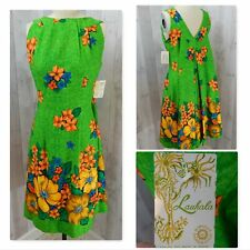 1970s Vintage Hawaiian Dress~Lauhala Barkcloth Green Floral Mu-Mu 34x30x48