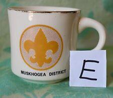 (E) Vintage Muskhogea District Coffee cup mug USA yellow Fleur de Lis boy scouts