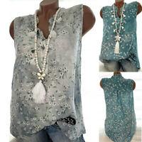 Women V-Neck Floral Print Tank Tops Vest Summer Casual Sleeveless Shirt Blouse
