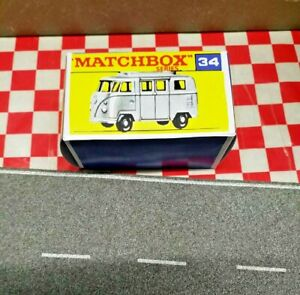 Matchbox Lesney 34 VW Volkswagen Camper, Low Roof EMPTY Repro  Box Only, No Car