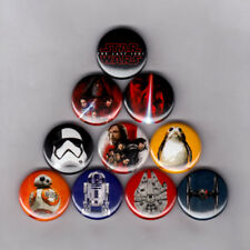 """STAR WARS : THE LAST JEDI 1"""" PINS / BUTTONS (porgs bb8 luke leia poster badges)"""
