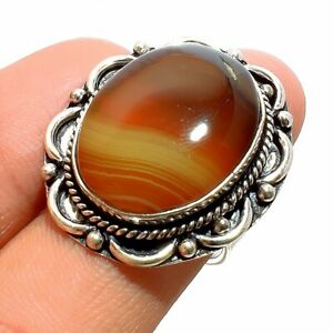 Banded Agate 925 Sterling Silver Jewelry Ring Size- 7