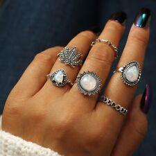 6Pcs Vintage Flower Opal Rings For Women Geometric Big Knuckle Ring Boho Jewelry
