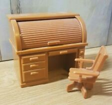 Vintage Fisher Price Dollhouse Furniture Desk ~ Swivel Chair And Roll Top Desk