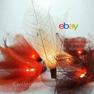 20 Earth Tone Bodhi Leave Flower Fairy Lights String Party Patio Home Decor 3.5m
