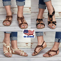 US Women's Boho Sandals Flats Slipper Ladies Summer Beach Casual Shoes Size 5-8