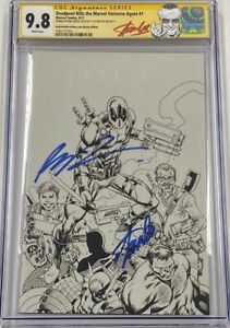 Deadpool Kills Marvel Universe Again #1 B&W Signed Stan Lee & Liefeld CGC 9.8 SS