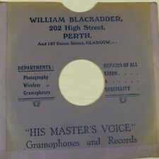 "78 rpm 10"" inch card gramophone record sleeve WILLIAM BLACKADDER PERTH"