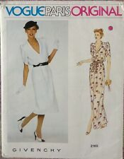 Vintage Vogue Paris Original Givenchy Designer Dress Pattern 2165 Size 14 UNCUT