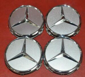 2002-2020 Mercedes Center Caps Hubcaps 220 400 01 25 Set of Four Chrome Silver
