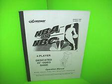 "Midway NBA On NBC 1999 Original 25"" 4-PL Video Arcade Game Service Parts MANUAL"